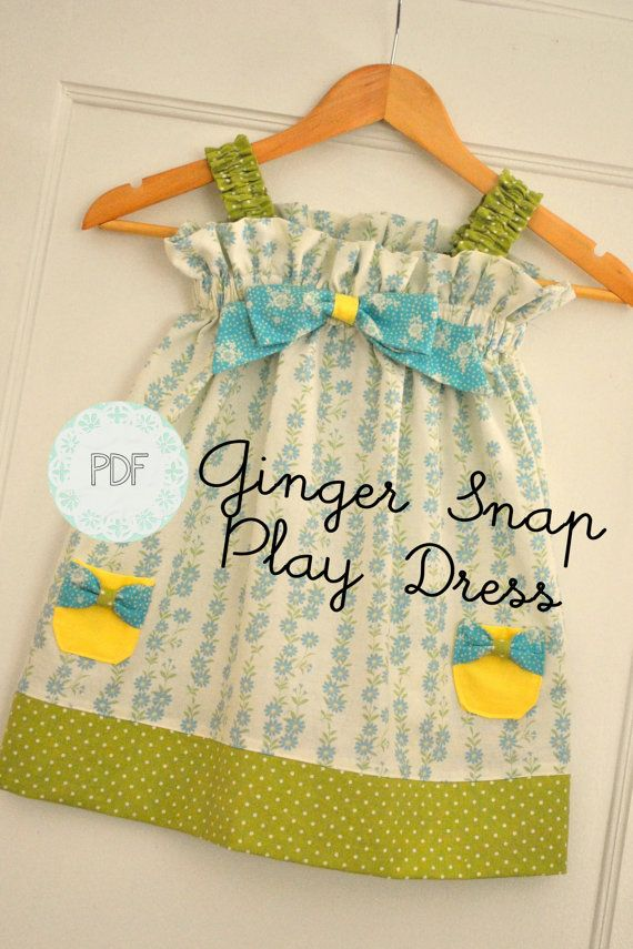 Ginger Snap Play Dress - Baby Toddler Girls Easy Beginner PDF Dress Pattern Sizes 0-3 months, 3-6 months, 6-12, 18 months, 2, 3, 4, 5. $7.50, via Etsy.