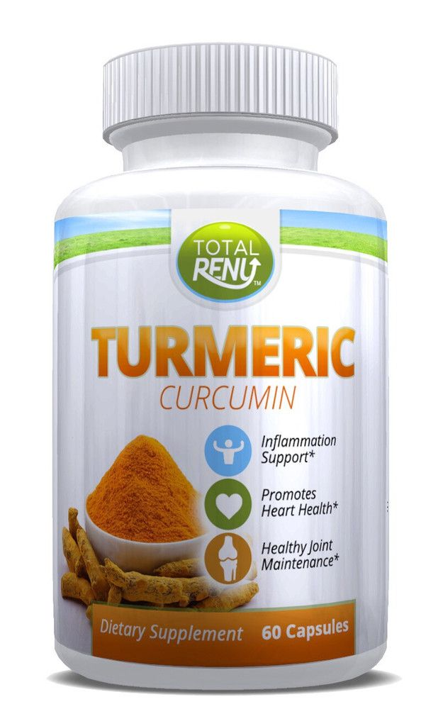 Total Renu Turmeric Curcumin Capsules: Powerful Supplement with Root Extract and Powder. Anti-inflammatory, Anti-oxidant, Immune Booster. 650mg, 60 Count, 30-day Supply.