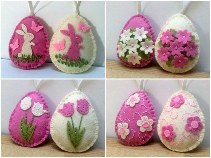 Felt Easter decoration - pink and ivory felt eggs with bunny and butterflies or flowers/ choice of decoration - set of 2  Listing is for 2 ornaments  Size of my decorated eggs is about 2 1/8 x 2 5/8 inch (5,3 x 6,5 cm) This is size of felt egg without hanging loop  Handmade from wool blend and wool felt  You can choose decoration of eggs: - bunnies - set of 2 - tulips - set of 2 - tiny flowers - set of 2 - embroidery - set of 2  If you would like a different set (for example of...