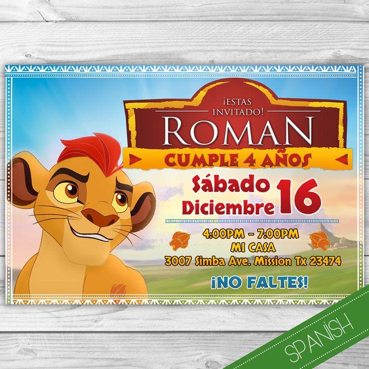 La Guarida del Leon Invitacion Español - Spanish Invitation- Lion Guard Spanish -Rey Leon Personalizada para imprimir - Disney JR by DsInvitations on Etsy