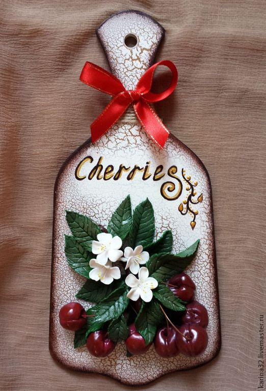 """Купить Декоративная доска """"Вишни"""" из глины - ярко-красный, вишни, декоративная доска, для кухни, для интерьера"""