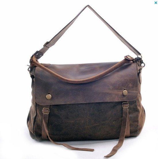 CANVAS bag/BACKPACK /Cow Leather Briefcase / Messenger bag / Laptop bag / Men's leather Bag-93 on Etsy, 280,18kr