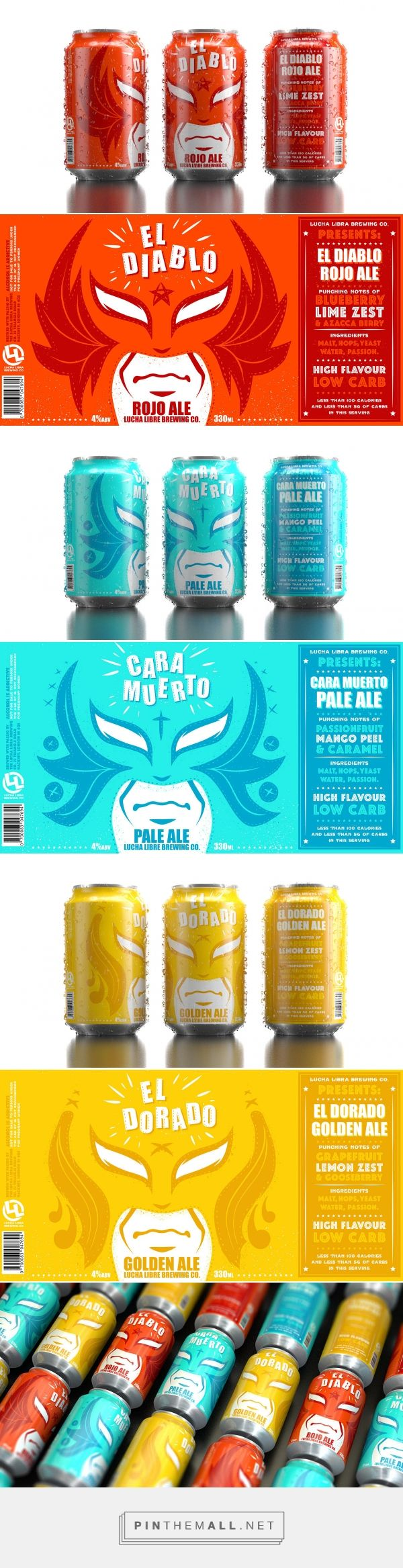 Lucha Libre Brew Co. ‪‎packaging‬ ‪‎design‬ by DUSK (‪UK‬) - http://www.packagingoftheworld.com/2016/07/lucha-libre-brew-co.html