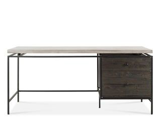 Desk, industrial style in concrete and reclaimed pine