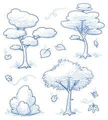 Vektor: Set von niedlichen Comic-Bäumen, Busch, Wald mit fallendem Herbstlaub. Hand gezeichnete Gekritzelvektorillustration.
