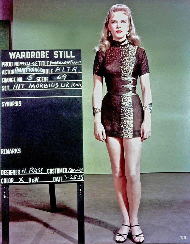 Wardrobe stills of Anne Francis as Alta in the Forbidden Planet, 1956