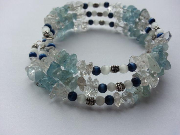 Aquamarine Wrap Mala Bracelet NEW 2014  by lovemeknottbilton, $45.00