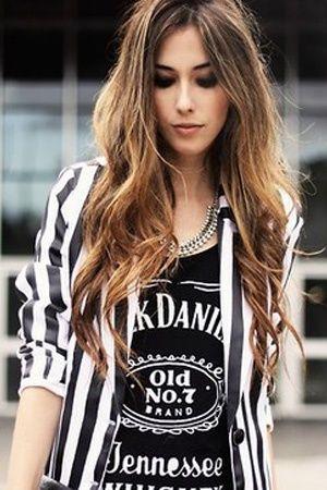 stripe blazer + jack daniels tshirt + leather pants = perfect rocker look