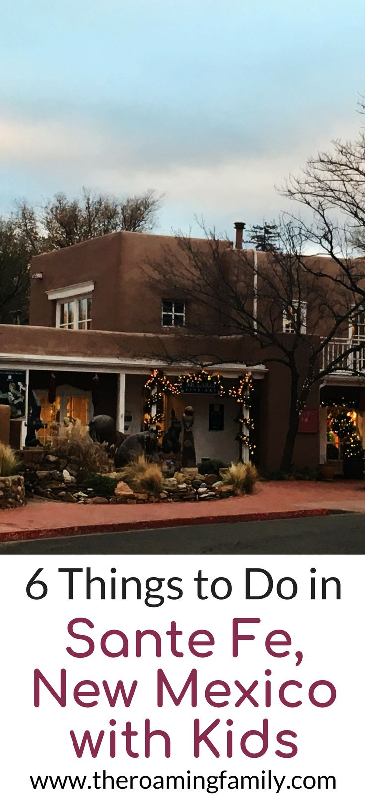 Are you heading to Santa Fe New Mexico on a family vacation? If so, you have to check out our family friendly Santa Fe travel guide. We will tell you the best things to do with kids in Santa Fe, where to eat in Santa Fe, things to see in Santa Fe, and much more. Come check out our kid friendly guide to Santa Fe and save it to your travel board to help you plan your trip.  #usatravel #santafenm #newmexico #familyvacation #familyblogger #familytravel #familytrips #familytripplanners