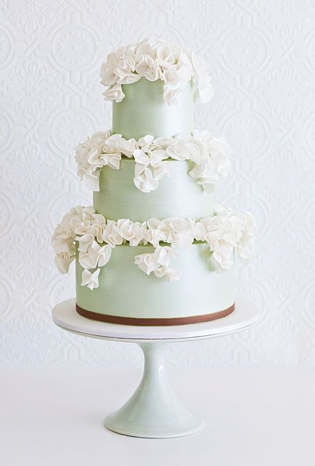 Mint Green Wedding Cake with Ivory Ruffles from Faye Cahill