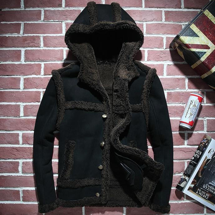 Hunting Jacket Embroidery Original Ecology Fur One Men's Short Hooded Leather  Jacket
