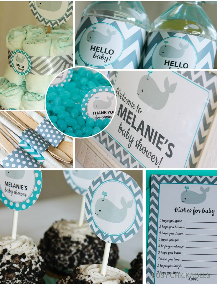 Whale Baby Shower Decorations DIY Customized Printable $20