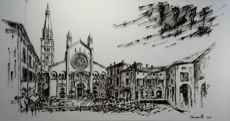 Modena: il Duomo smalto su plexiglas cm 200x100