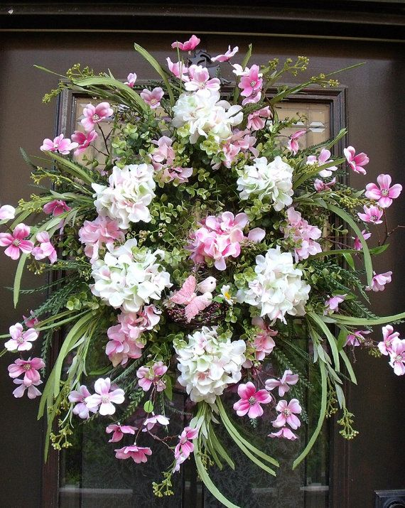 Spring Wreath, Etsy Wreaths, Pink and White Wreath, Dogwood Wreath, White Hydrangea Wreath, Spring Summer Wreath Decor
