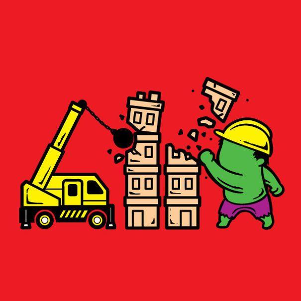 Hulk doing construction work.  23 Superheroes And Their Part-Time Jobs • BoredBug