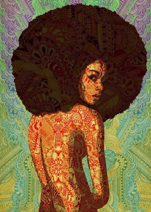 back of nude girl with black afro, print/ design on background and body