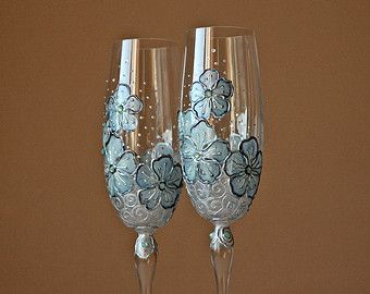 Wedding Glasses Champagne Flutes Wine Glasses Hand Painted