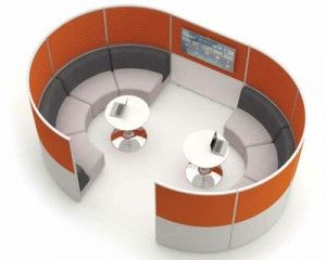 Breakout areas or relax areas are becoming more popular in offices where employees can take time away from their desks to prepare for meetings in a private quiet area and the acoustic screen hub can achieve that