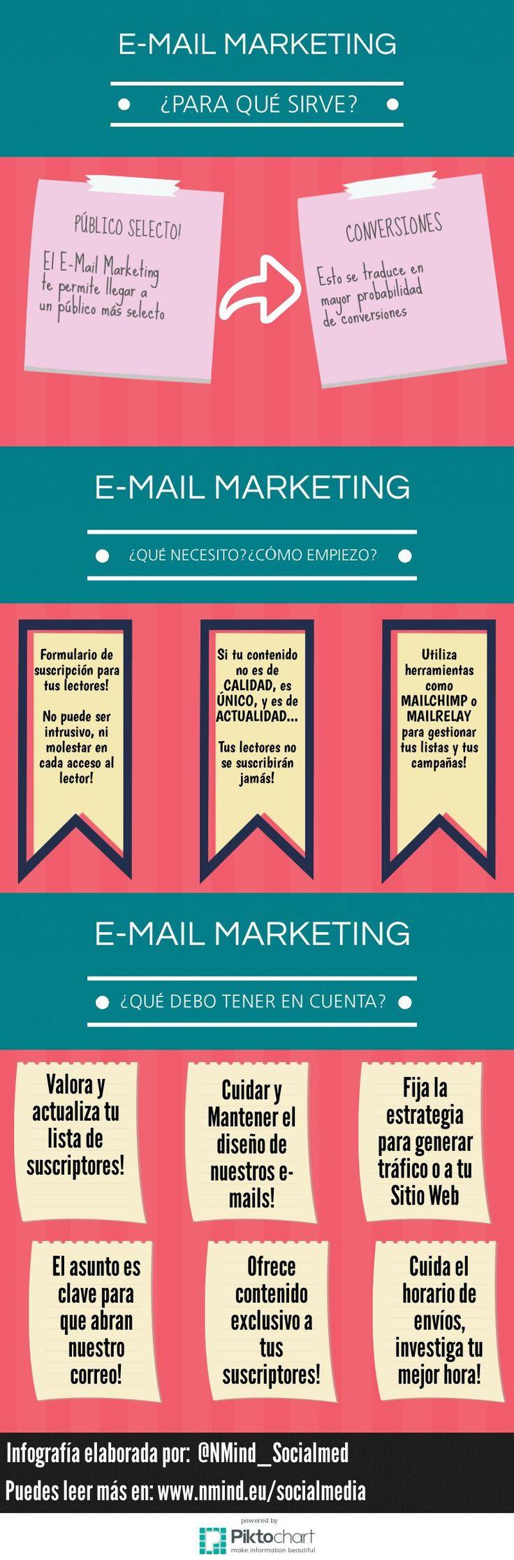 Una infografía en español que explica brevemente para que sirve el Email Marketing y que ofrece una serie de consejos para realizar campañas de éxito.