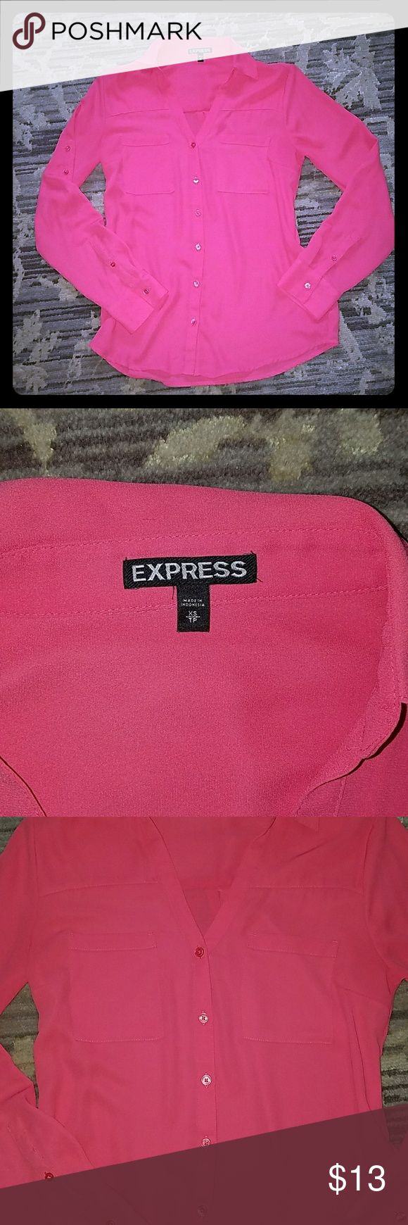 Hot pink express blouse! Good condition Express hot pink blouse! It doesn't say portofino on it, but it's fit and style are almost identical. There is a small snag that is pictured with and without flash in pics 4 and 5, otherwise great condition! Sleeves can be buttoned up or down as well. Express Tops Blouses