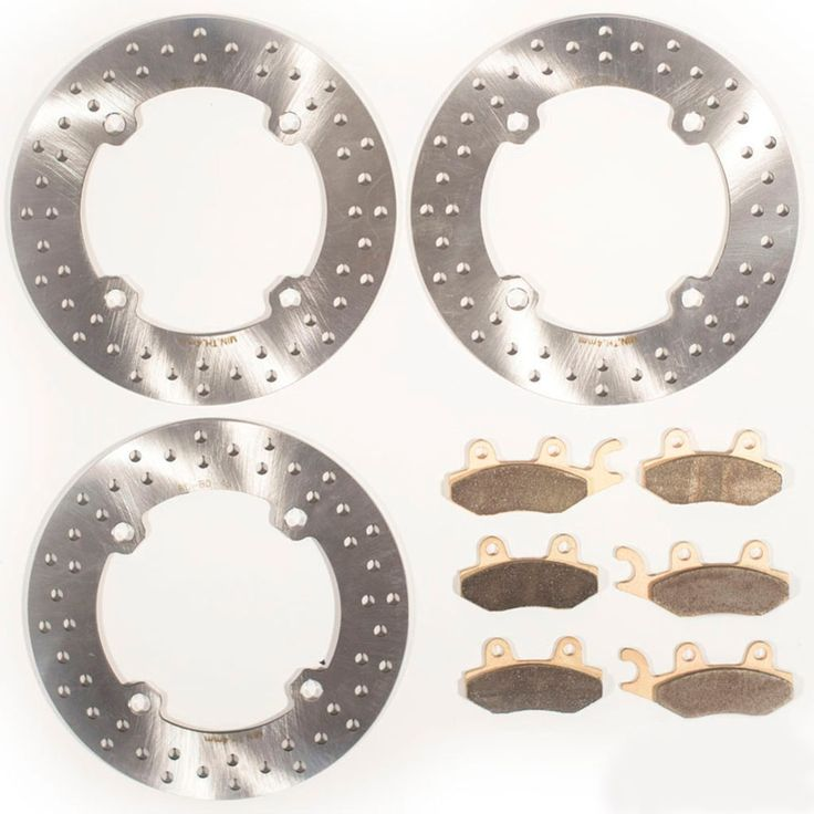 2011-2014 Can-Am Commander X 1000 4x4 Front & Rear Brake Rotors & Brake Pads, Silver stainless steel