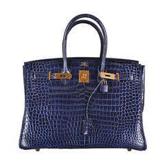 HERMES BIRKIN BAG 35cm BLUE ABYSSE CROCODILE GOLD HARDWARE ... only 98K ! :X