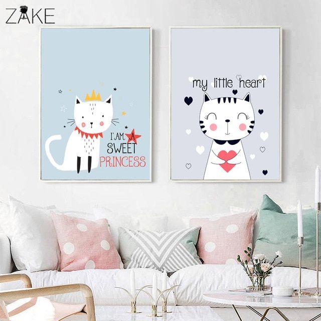 3 Cute Prints Kawaii Rainbow Cat Bear Dream Big Nursery Wall Art Decor Pictures