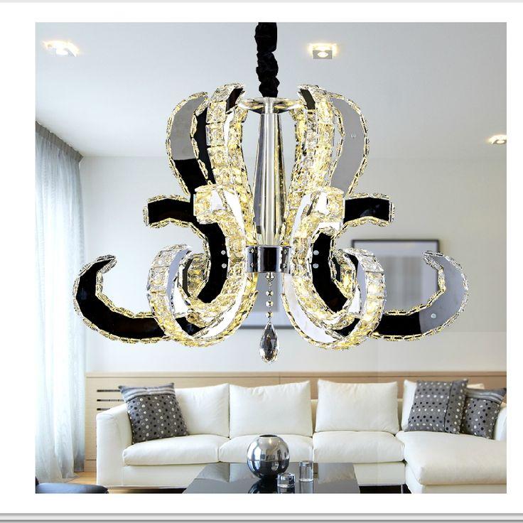pas cher moderne de luxe grand cristal led lustre pour salon hall d 39 accueil suspendus de. Black Bedroom Furniture Sets. Home Design Ideas