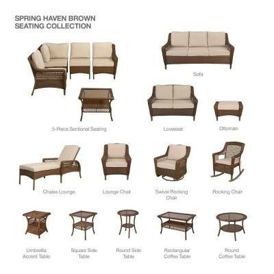 Hampton Bay Spring Haven Brown 5 Piece All Weather Wicker Patio Sectional  Seating Set With Sky Blue Cushions