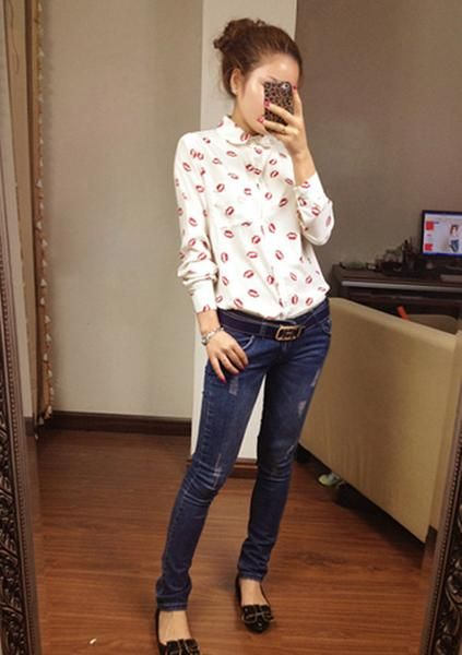 Women Red Lips Printed Blouse Long Sleeve Casual Shirts