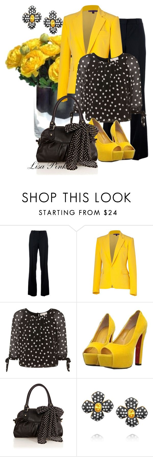 """""""I'M WALKING ON SUNSHINE!!!"""" by lichiep ❤ liked on Polyvore featuring Chloé, Ralph Lauren Collection, Cameo Rose, Oasis, Kenneth Jay Lane, yellow pumps, polka dot handbag, black and white chiffon blouse, ralph lauren yellow blazer and black trousers"""
