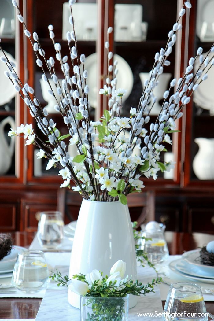 Spring centerpiece decor idea. Come see my Spring Home tour filled with lots of  DIY decorating tips and inspiration! www.settingforfour.com