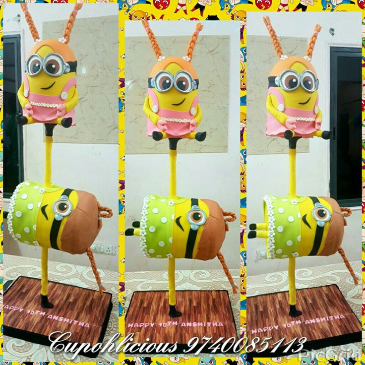 A chocolate truffle gravity defying minion themed cake for my niece s 10th birthday !
