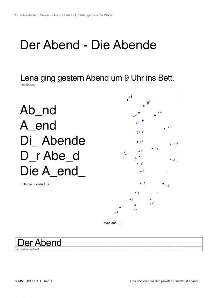 """Ein weiteres Arbeitsblatt als PDF. Das Übungsblatt enthält den Begriff """"Abend"""" des Grundwortschatz Deutsch Grundschule Hamburg."""