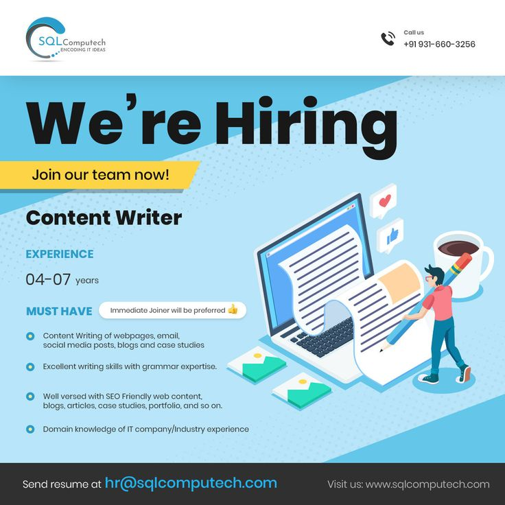 Hiring content writer for ahmedabad location share resume