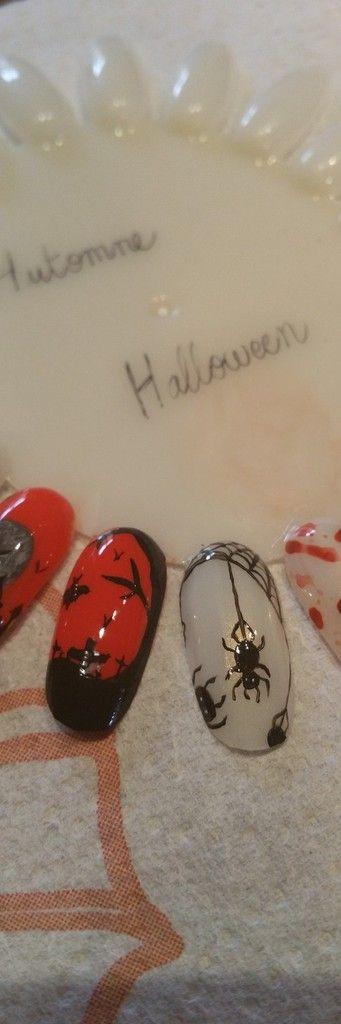 Nail Art; Halloween; 2015; Araignée; Village; Toiles; Sang; Citrouilles; Crime; Automne; Arbre