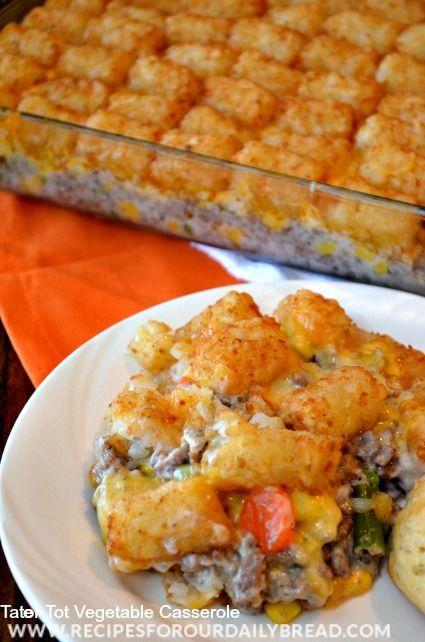 Tator Tot Vegetable Casserole-easy dinner, great for kids http://recipesforourdailybread.com/2013/10/09/tater-tot-vegetable-casserole/ #easyrecipes #casseroles