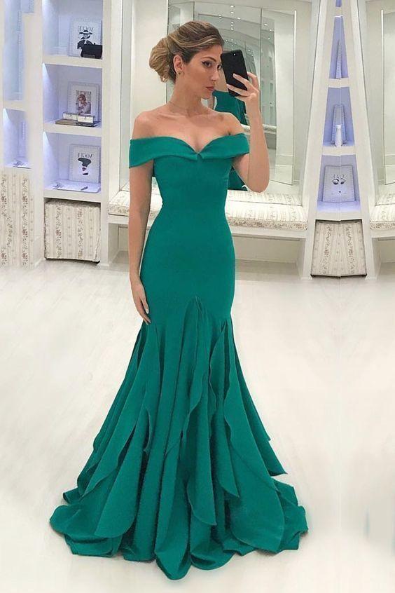 Off The Shoulder Mermaid Chiffon Prom Dresses Sweep Train in 2019 ... ec132d5036d7