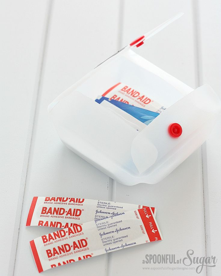 DIY first aid kit from recycled milk jug