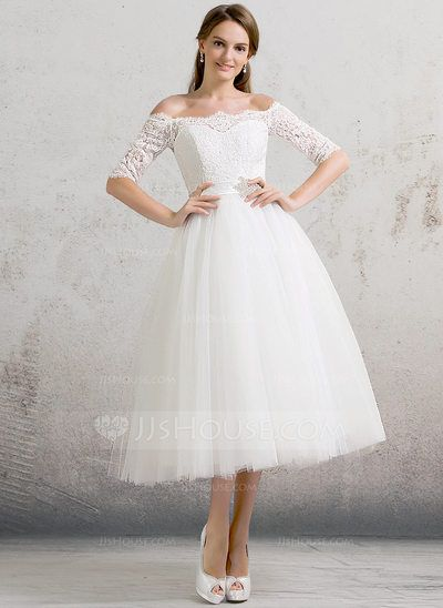 [US$ 139.99] Ball-Gown Off-the-Shoulder Tea-Length Tulle Wedding Dress With Beading Sequins