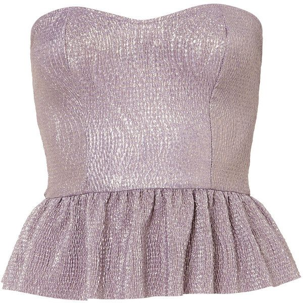 **Metallic Peplum Top by Oh My Love (355 MXN) ❤ liked on Polyvore featuring tops, shirts, peplum top, purple, purple peplum top, cotton bandeau top, cotton shirts, metallic top and bandeau shirt tops