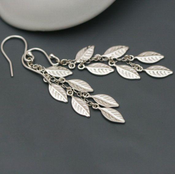 Cascade Sterling Silver Leaf Earrings by JewelleryByZM on Etsy, £28.00 $47.06
