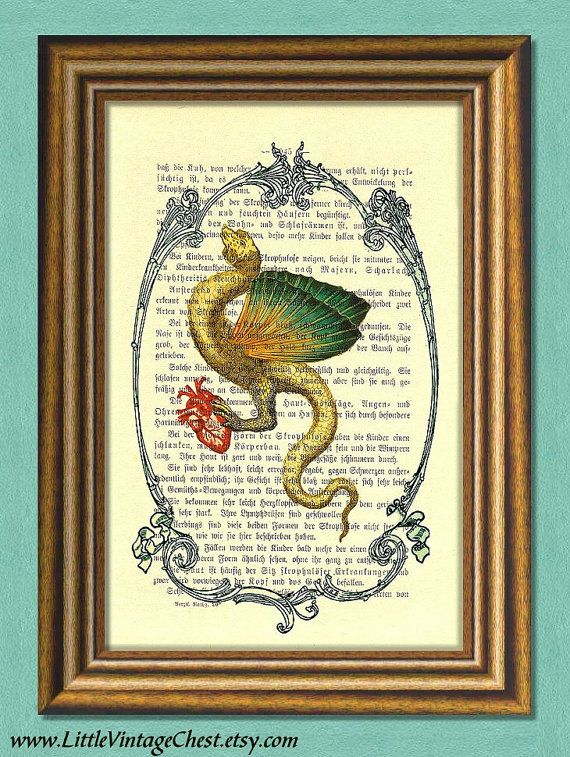 LADY DRAGON  Halloween  Dictionary art  Wall by littlevintagechest, $7.99