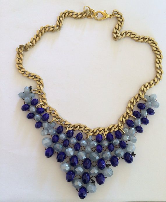 "Handmade Statement Necklace, Fashion, Style, Women, ""Shades of Blue"" on Etsy, 25,00€"