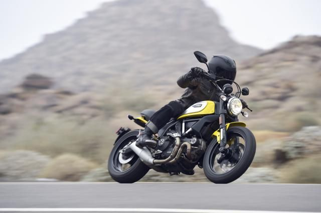 Riding the 2015 Ducati Scrambler, which mixes up past and future elements in a departure from the Italian company's tried-and-true formula.: The 2015 Ducati Scrambler, climbing Highway 74 outside of Palm Desert.