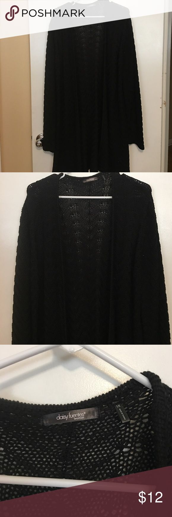 Daisy Fuentes 1x black long sweater for sale! Daisy Fuentes women's 1x sweater for sale! It is black, crochet style, long (comes down to my mid thigh and I'm 5'4) very comfortable (I wore with skinny jeans to cover my butt) and goes with everything! Purchased about a year ago, wore 1-2x and has been sitting in my closet ever sense.  If interested make an offer, NO TRADES PLEASE :) Daisy Fuentes Sweaters