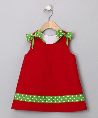 what a cute little dress for Christmas...not a tutorial...just use basic jumper pattern