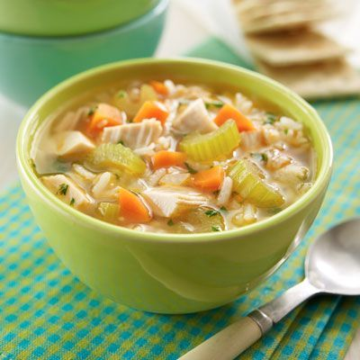 Super Easy Chicken & Rice Soup is a better-for-you meal option that's ready in less than 40 minutes