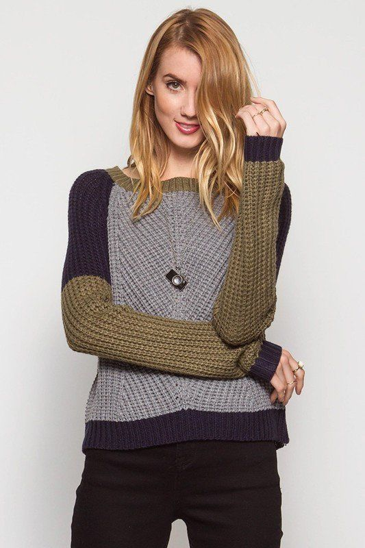 Long sleeve color block sweater. Fit Tips - This item runs true-to-size, but slightly short. Size up if you are between sizes, or are a tall or longer-torsoed lady for a relaxed look. Across chest - 2