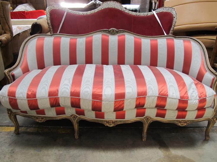 Orange + White Vertical Striped Vintage Sofa